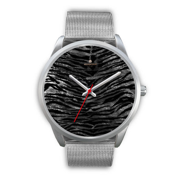 Black Tiger Stripe Faux Fur Stripes Pattern Silver Metal Personalizable Unisex Watch-Silver Watch-Mens 40mm-Silver Metal Mesh-Heidi Kimura Art LLC