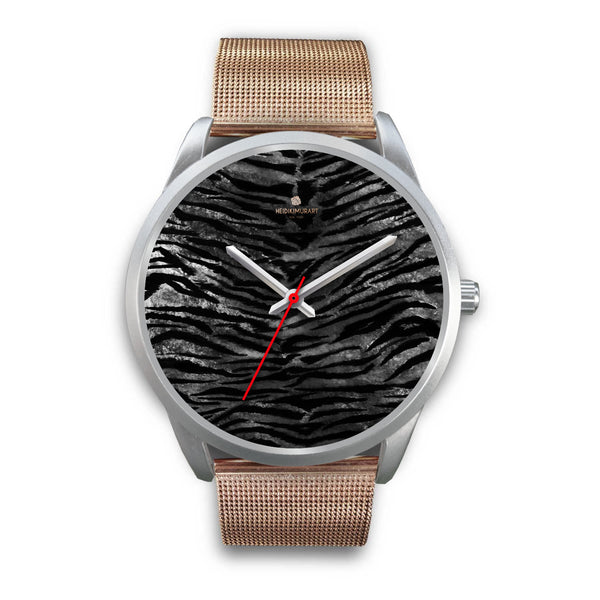 Black Tiger Stripe Faux Fur Stripes Pattern Silver Metal Personalizable Unisex Watch-Silver Watch-Mens 40mm-Rose Gold Metal Mesh-Heidi Kimura Art LLC