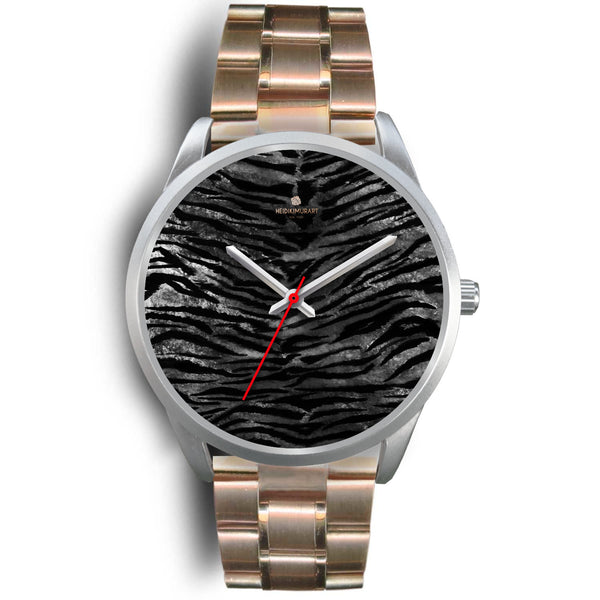 Black Tiger Stripe Faux Fur Stripes Pattern Silver Metal Personalizable Unisex Watch-Silver Watch-Mens 40mm-Rose Gold Metal Link-Heidi Kimura Art LLC Black Tiger Stripe Watch, Black Tiger Stripe Faux Fur Stripes Pattern Silver Accent Metal Personalizable Unisex Watch