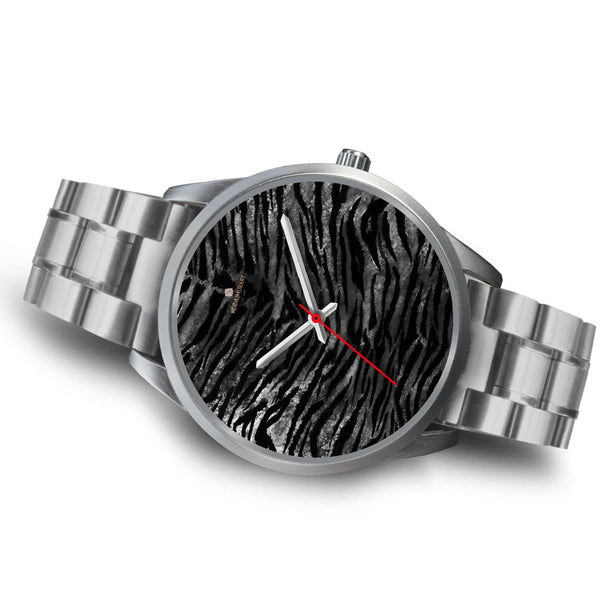 Black Tiger Stripe Faux Fur Stripes Pattern Silver Metal Personalizable Unisex Watch-Silver Watch-Heidi Kimura Art LLC
