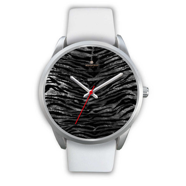 Black Tiger Stripe Faux Fur Stripes Pattern Silver Metal Personalizable Unisex Watch-Silver Watch-Mens 40mm-White Leather-Heidi Kimura Art LLC