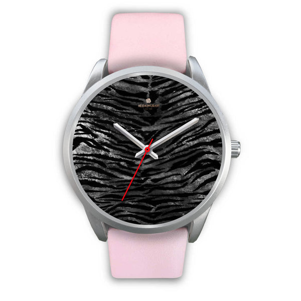 Black Tiger Stripe Faux Fur Stripes Pattern Silver Metal Personalizable Unisex Watch-Silver Watch-Mens 40mm-Pink Leather-Heidi Kimura Art LLC