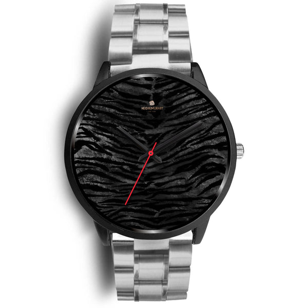 d95c92dbb14 Harajuku Gents Black Tiger Stripe Genuine Leather  Stainless Steel Ice Pimp  Bling Gangster Watch