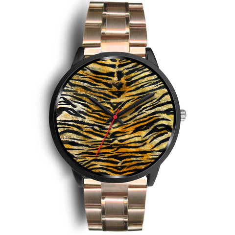 Orange Brown Mens Womens Tiger Stripe Animal Print Designer Unisex Watch-Black Watch-Mens 40mm-Rose Gold Metal Link-Heidi Kimura Art LLC