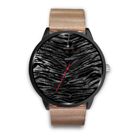 Gray Tiger Striped Watch, Animal Print Designer Genuine Leather/ Stainless Steel Watch-Black Watch-Mens 40mm-Rose Gold Metal Mesh-Heidi Kimura Art LLC