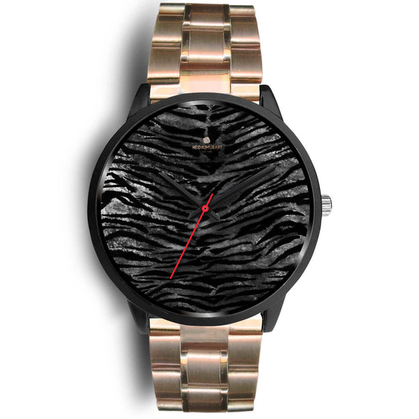 Gray Tiger Striped Watch, Animal Print Designer Genuine Leather/ Stainless Steel Watch-Black Watch-Mens 40mm-Rose Gold Metal Link-Heidi Kimura Art LLC