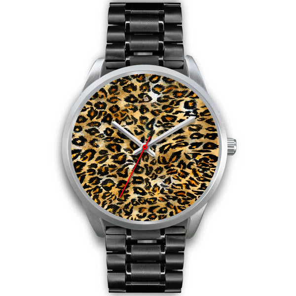 Brown Leopard Animal Print Silver Accent Stainless Steel or Genuine Unisex Leather Watch-Silver Watch-Mens 40mm-Black Metal Link-Heidi Kimura Art LLC