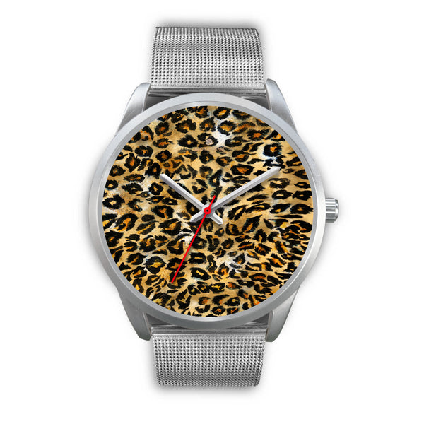 Brown Leopard Animal Print Silver Accent Stainless Steel or Genuine Unisex Leather Watch-Silver Watch-Mens 40mm-Silver Metal Mesh-Heidi Kimura Art LLC