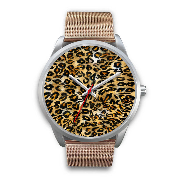 Brown Leopard Animal Print Silver Accent Stainless Steel or Genuine Unisex Leather Watch-Silver Watch-Mens 40mm-Rose Gold Metal Mesh-Heidi Kimura Art LLC