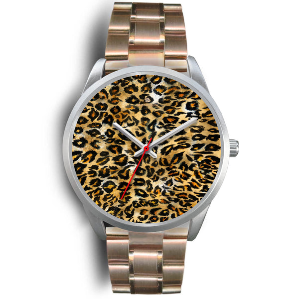 Brown Leopard Animal Print Silver Accent Stainless Steel or Genuine Unisex Leather Watch-Silver Watch-Mens 40mm-Rose Gold Metal Link-Heidi Kimura Art LLC