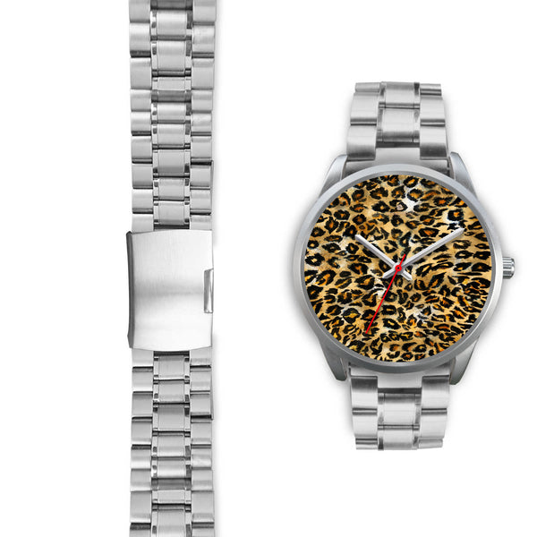 Brown Leopard Animal Print Silver Accent Stainless Steel or Genuine Unisex Leather Watch-Silver Watch-Heidi Kimura Art LLC