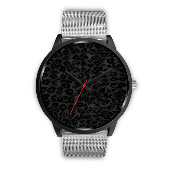 Charcoal Black Designer Leopard Animal Faux Fur Print Unisex Premium Watch-Black Watch-Mens 40mm-Silver Metal Mesh-Heidi Kimura Art LLC