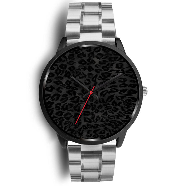 Charcoal Black Designer Leopard Animal Faux Fur Print Unisex Premium Watch-Black Watch-Mens 40mm-Silver Metal Link-Heidi Kimura Art LLC