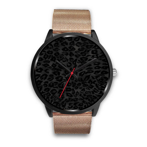 Charcoal Black Designer Leopard Animal Faux Fur Print Unisex Premium Watch-Black Watch-Mens 40mm-Rose Gold Metal Mesh-Heidi Kimura Art LLC