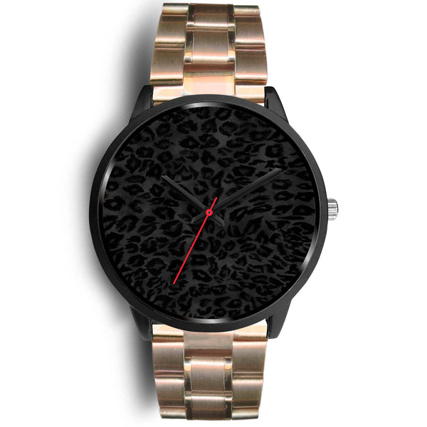 Charcoal Black Designer Leopard Animal Faux Fur Print Unisex Premium Watch-Black Watch-Mens 40mm-Rose Gold Metal Link-Heidi Kimura Art LLC