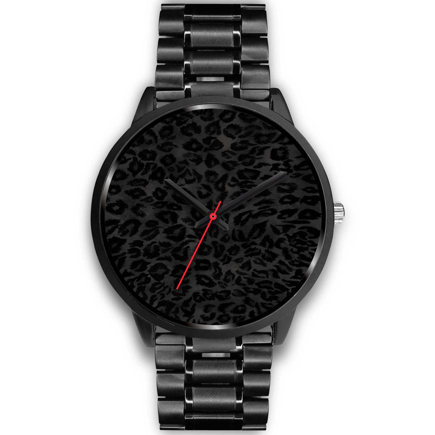 Charcoal Black Designer Leopard Animal Faux Fur Print Unisex Premium Watch-Black Watch-Mens 40mm-Black Metal Link-Heidi Kimura Art LLC