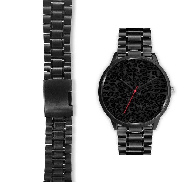 Charcoal Black Designer Leopard Animal Faux Fur Print Unisex Premium Watch-Black Watch-Heidi Kimura Art LLC