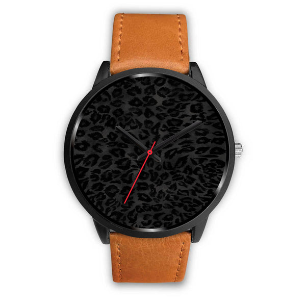 Charcoal Black Designer Leopard Animal Faux Fur Print Unisex Premium Watch-Black Watch-Mens 40mm-Brown Leather-Heidi Kimura Art LLC