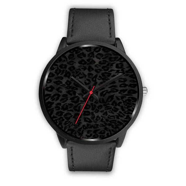 Charcoal Black Designer Leopard Animal Faux Fur Print Unisex Premium Watch-Black Watch-Mens 40mm-Black Leather-Heidi Kimura Art LLC