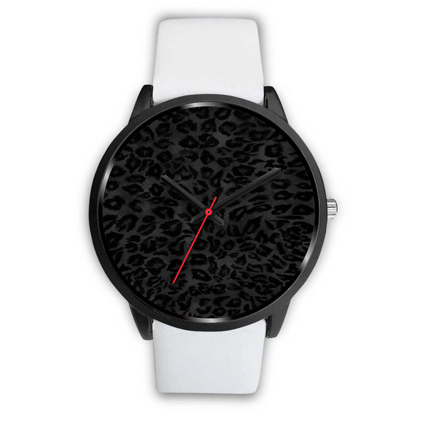 Charcoal Black Designer Leopard Animal Faux Fur Print Unisex Premium Watch-Black Watch-Mens 40mm-White Leather-Heidi Kimura Art LLC