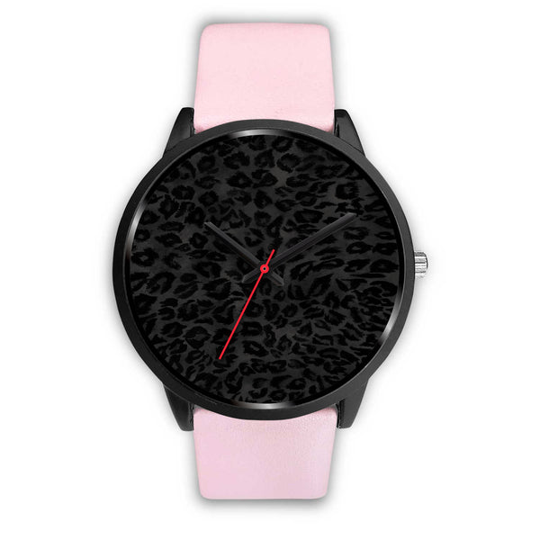 Charcoal Black Designer Leopard Animal Faux Fur Print Unisex Premium Watch-Black Watch-Mens 40mm-Pink Leather-Heidi Kimura Art LLC