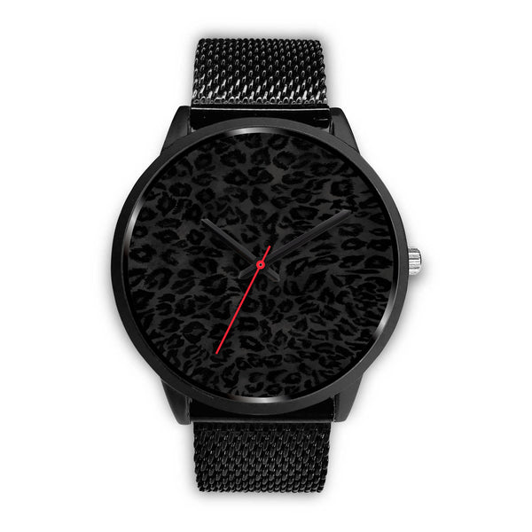 Charcoal Black Designer Leopard Animal Faux Fur Print Unisex Premium Watch-Black Watch-Mens 40mm-Black Metal Mesh-Heidi Kimura Art LLC
