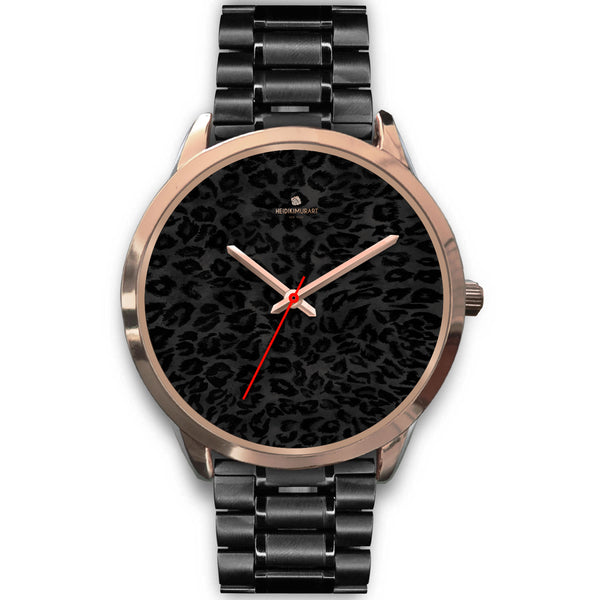 Black Leopard Animal Print Rose Gold Accent Designer Unisex Mens Womens Watch-Rose Gold Watch-Mens 40mm-Black Metal Link-Heidi Kimura Art LLC
