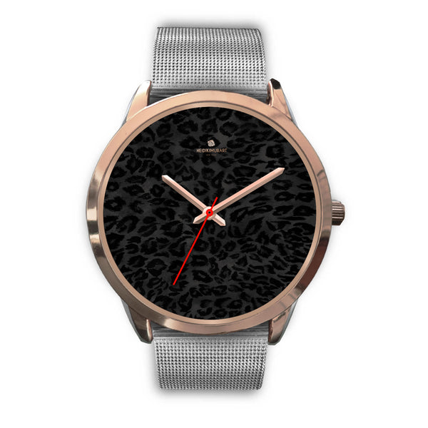 Black Leopard Animal Print Rose Gold Accent Designer Unisex Mens Womens Watch-Rose Gold Watch-Mens 40mm-Silver Metal Mesh-Heidi Kimura Art LLC