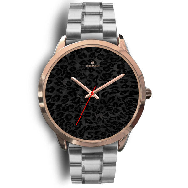 Black Leopard Animal Print Rose Gold Accent Designer Unisex Mens Womens Watch-Rose Gold Watch-Mens 40mm-Silver Metal Link-Heidi Kimura Art LLC