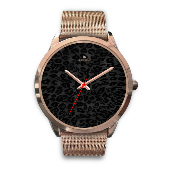 Black Leopard Animal Print Rose Gold Accent Designer Unisex Mens Womens Watch-Rose Gold Watch-Mens 40mm-Rose Gold Metal Mesh-Heidi Kimura Art LLC