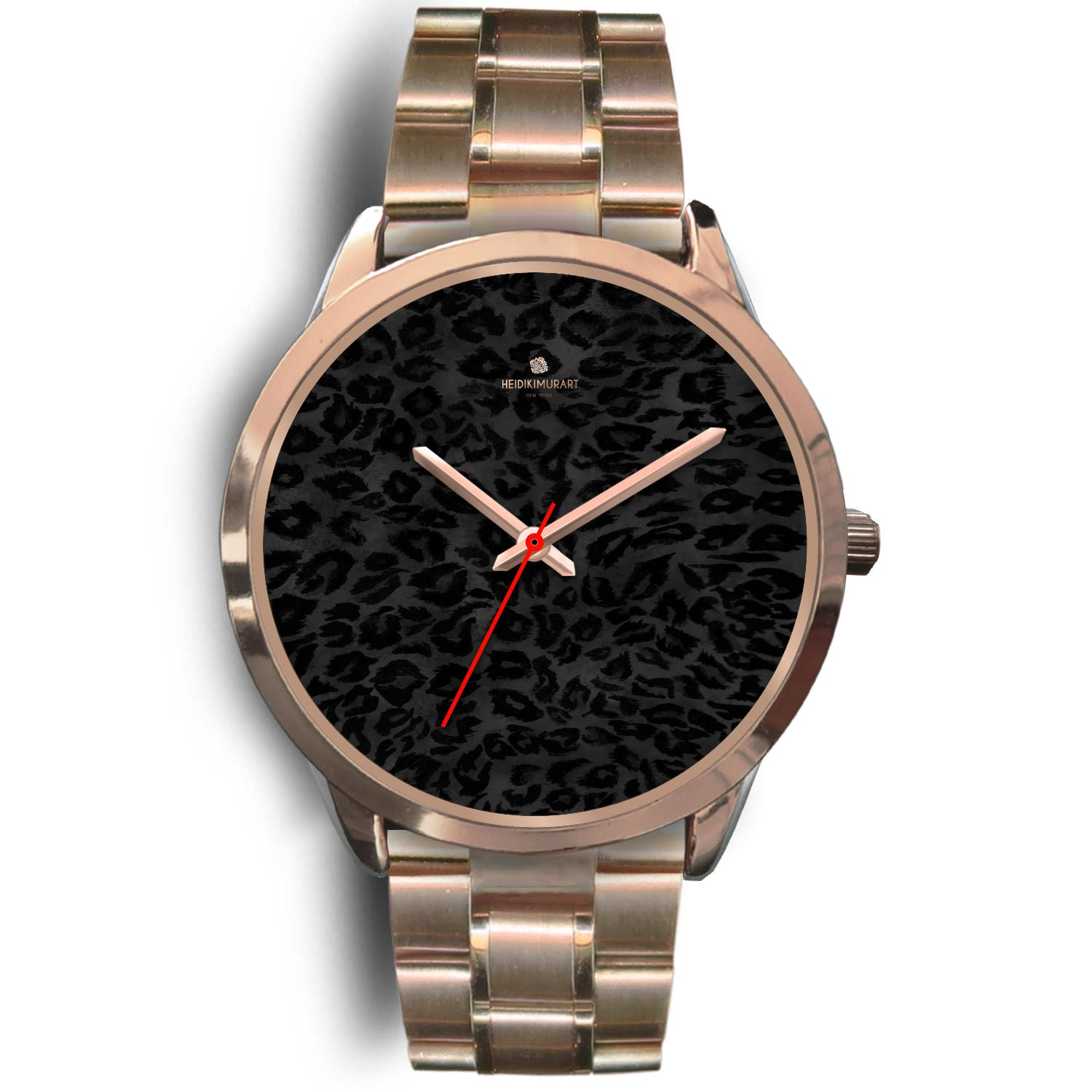 Black Leopard Animal Print Rose Gold Accent Designer Unisex Mens Womens Watch-Rose Gold Watch-Mens 40mm-Rose Gold Metal Link-Heidi Kimura Art LLC Black Leopard Unisex Watch, Black Leopard Animal Print Rose Gold Accent Designer Unisex Mens Womens Watch