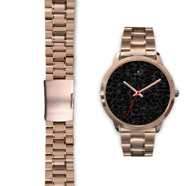 Black Leopard Animal Print Rose Gold Accent Designer Unisex Mens Womens Watch-Rose Gold Watch-Heidi Kimura Art LLC