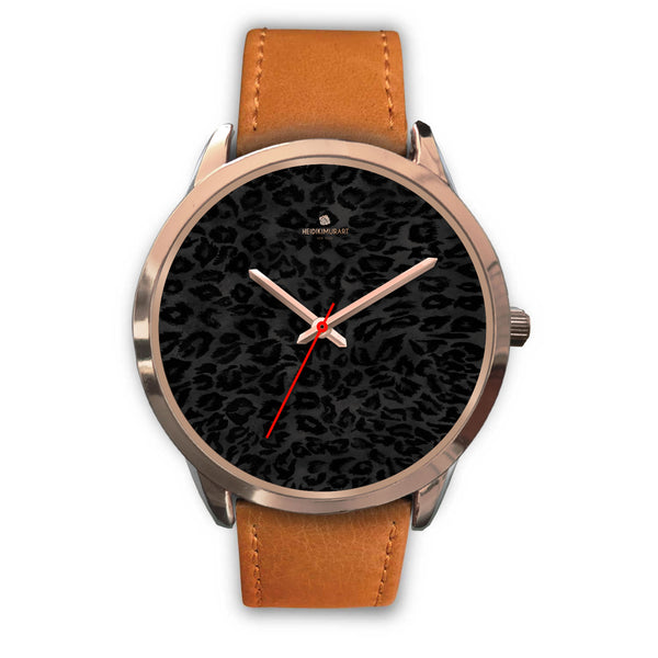 Black Leopard Animal Print Rose Gold Accent Designer Unisex Mens Womens Watch-Rose Gold Watch-Mens 40mm-Brown Leather-Heidi Kimura Art LLC