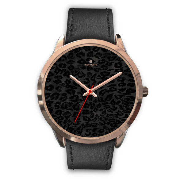 Black Leopard Animal Print Rose Gold Accent Designer Unisex Mens Womens Watch-Rose Gold Watch-Mens 40mm-Black Leather-Heidi Kimura Art LLC