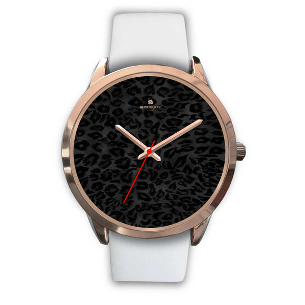 Black Leopard Animal Print Rose Gold Accent Designer Unisex Mens Womens Watch-Rose Gold Watch-Mens 40mm-White Leather-Heidi Kimura Art LLC