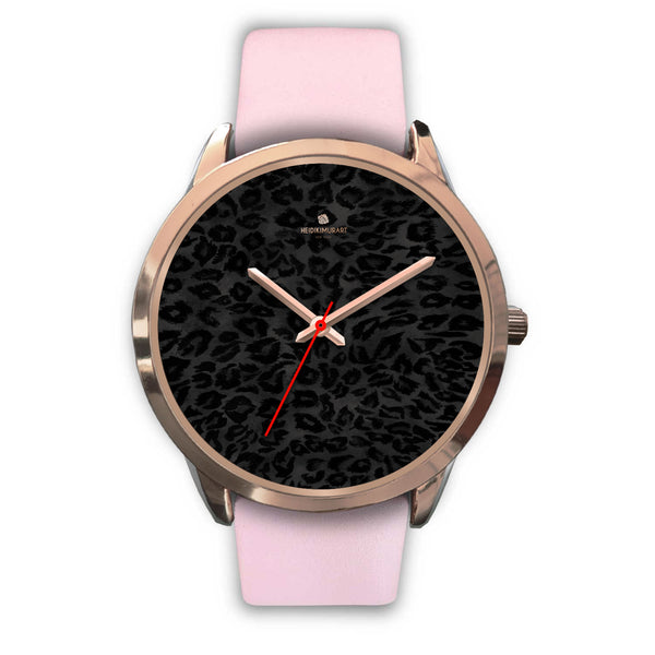 Black Leopard Animal Print Rose Gold Accent Designer Unisex Mens Womens Watch-Rose Gold Watch-Mens 40mm-Pink Leather-Heidi Kimura Art LLC