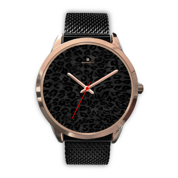 Black Leopard Animal Print Rose Gold Accent Designer Unisex Mens Womens Watch-Rose Gold Watch-Mens 40mm-Black Metal Mesh-Heidi Kimura Art LLC