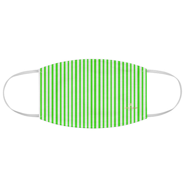 "Green Striped Face Mask, Minimalist Fashion Face Mask For Men/ Women, Designer Premium Quality Modern Polyester Fashion 7.25"" x 4.63"" Fabric Non-Medical Reusable Washable Chic One-Size Face Mask With 2 Layers For Adults With Elastic Loops-Made in USA"