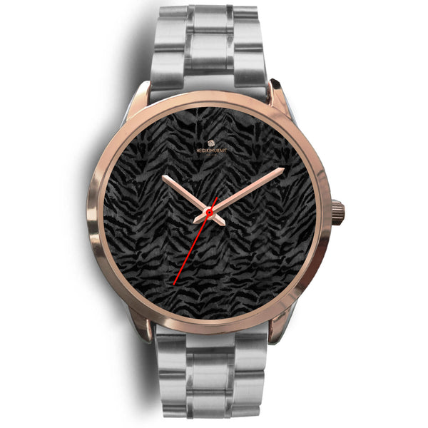 Cool Black Tiger Striped Animal Print Unisex Rose Gold Accent Designer Watch-Rose Gold Watch-Mens 40mm-Silver Metal Link-Heidi Kimura Art LLC