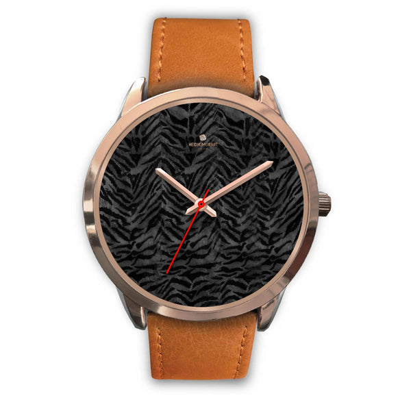 Cool Black Tiger Striped Animal Print Unisex Rose Gold Accent Designer Watch-Rose Gold Watch-Mens 40mm-Brown Leather-Heidi Kimura Art LLC