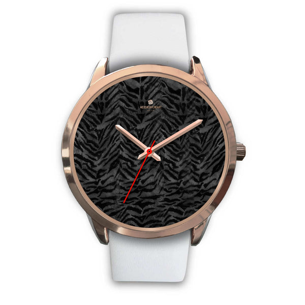 Cool Black Tiger Striped Animal Print Unisex Rose Gold Accent Designer Watch-Rose Gold Watch-Mens 40mm-White Leather-Heidi Kimura Art LLC
