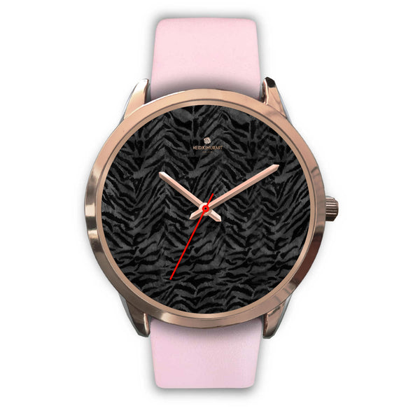 Cool Black Tiger Striped Animal Print Unisex Rose Gold Accent Designer Watch-Rose Gold Watch-Mens 40mm-Pink Leather-Heidi Kimura Art LLC