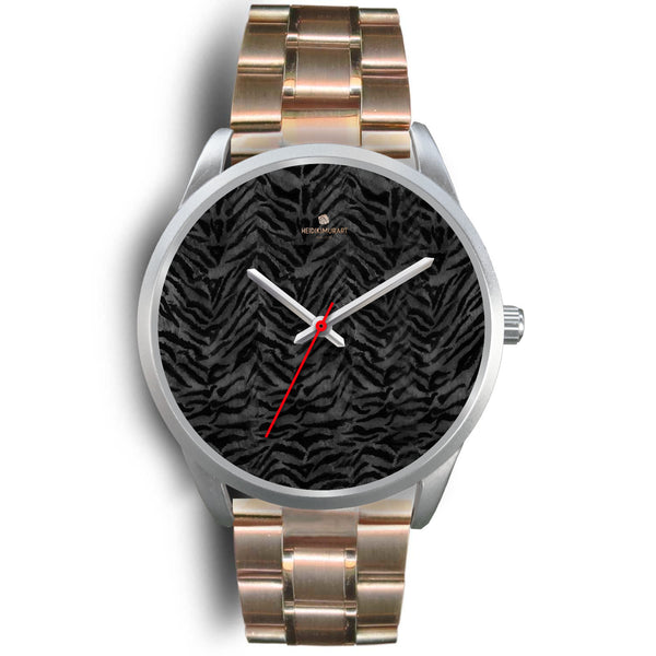 Black Tiger Striped Faur Fur Animal Print Personalized Custom Silver Watch-Silver Watch-Mens 40mm-Rose Gold Metal Link-Heidi Kimura Art LLC
