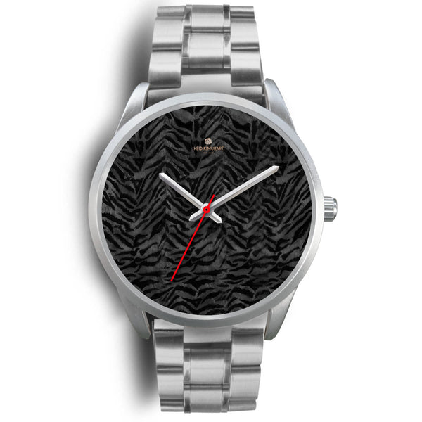 Black Tiger Striped Faur Fur Animal Print Personalized Custom Silver Watch-Silver Watch-Mens 40mm-Silver Metal Link-Heidi Kimura Art LLC