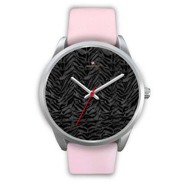 Black Tiger Striped Faur Fur Animal Print Personalized Custom Silver Watch-Silver Watch-Mens 40mm-Pink Leather-Heidi Kimura Art LLC