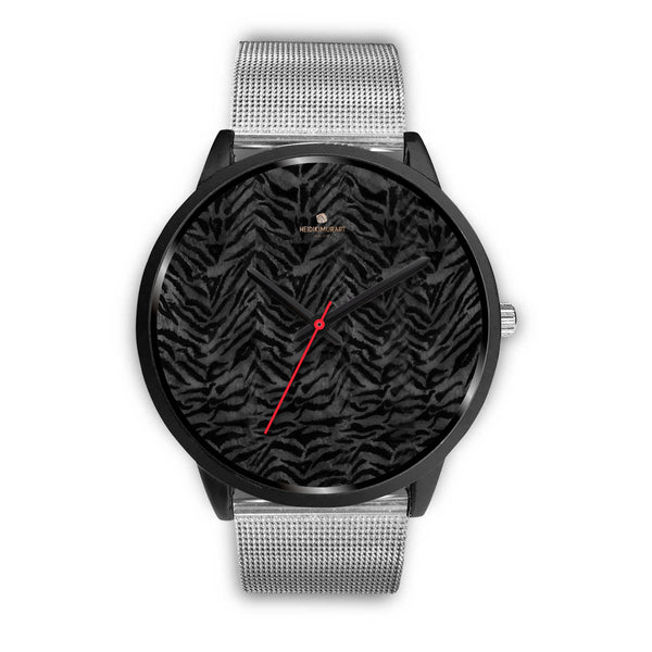 Tiger Striped Animal Print Designer Faux Fur Black Stainless Steel/ Genuine Leather Watch-Black Watch-Mens 40mm-Silver Metal Mesh-Heidi Kimura Art LLC