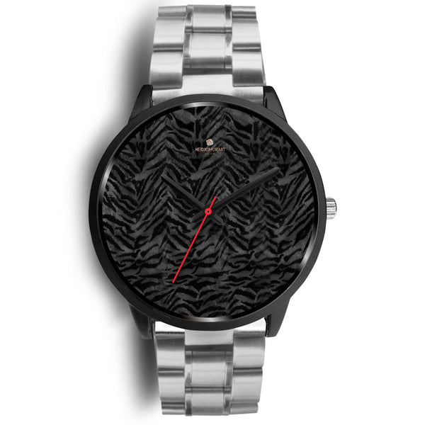 Tiger Striped Animal Print Designer Faux Fur Black Stainless Steel/ Genuine Leather Watch-Black Watch-Mens 40mm-Silver Metal Link-Heidi Kimura Art LLC