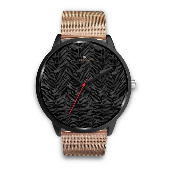 Tiger Striped Animal Print Designer Faux Fur Black Stainless Steel/ Genuine Leather Watch-Black Watch-Mens 40mm-Rose Gold Metal Mesh-Heidi Kimura Art LLC