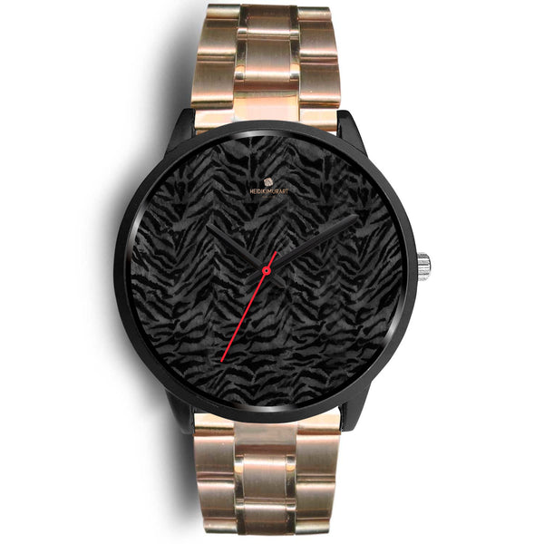 Tiger Striped Animal Print Designer Faux Fur Black Stainless Steel/ Genuine Leather Watch-Black Watch-Mens 40mm-Rose Gold Metal Link-Heidi Kimura Art LLC