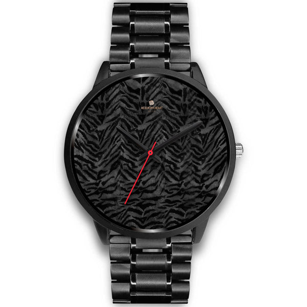 Tiger Striped Animal Print Designer Faux Fur Black Stainless Steel/ Genuine Leather Watch-Black Watch-Mens 40mm-Black Metal Link-Heidi Kimura Art LLC